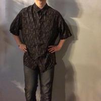 1990's~ ビッグサイズ ブラック かすり柄 半袖 レーヨンシャツ / 古着 ビンテージ