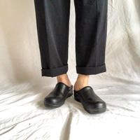 Sanita black leather sabot
