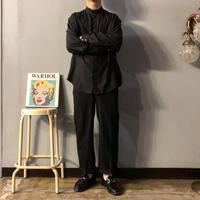 old ブラック バンドカラー シルクシャツ / 古着 ビンテージ