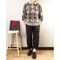1980's~ USA製 襟付き ミックス グレー 総柄セーター / 古着 ビンテージ ニット