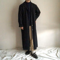 1980's~ black cotton super long coat made in USA