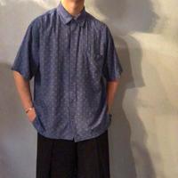 シルクレーヨン 半袖 総柄シャツ / 古着 ビンテージ
