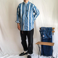 1990's~ blue×white stripe pattern denim L/S shirt
