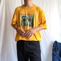 "1990's~ ""DJ"" turn table  print yellow cotton S/S tee"