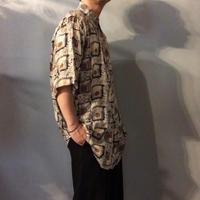 1990's~ ビッグサイズ シルクコットン 半袖 総柄シャツ / 古着 ビンテージ