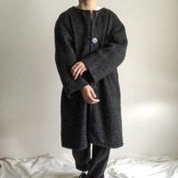 Vintage 1960's~ no collor wool long coat made in iceland
