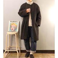 Vintage 1960's~ノーカラー ウール ニットコート / 古着 ビンテージ