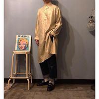 old 総柄刺繍 バンドカラー グランパシャツ / 古着 ビンテージ