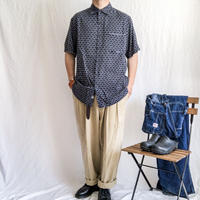 "1990's~  ""Nat Nast"" patterned all over silk S/S shirt"