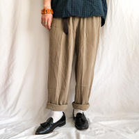 1990's~ bigsize olive color silk slacks