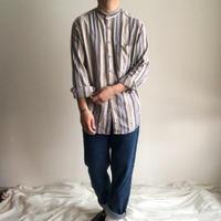 ~1990's multi stripe pattern band collor shirt