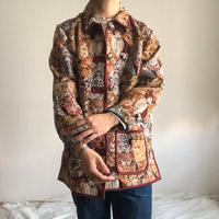 "1990's~ ""cat pattern"" piping design tapestry jacket"