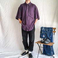 Vintage 1960's~1970's india rayon bigsize solid S/S rayon shirt
