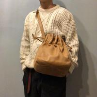 old COACH 巾着型 キャメル レザー ショルダー バッグ/古着 ビンテージ
