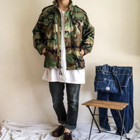 """NOS 1980's US ARMY M-65 3rd woodland camo pattern field jacket """"S-XS"""