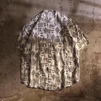 1990's~ 総柄 バンドカラー 半袖シャツ / 古着 ビンテージ