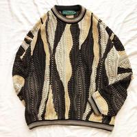 1990's~ カナダ製 3D コットン 総柄セーター / 古着 ビンテージ