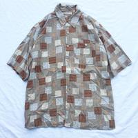 ボックス柄 総柄 シルク 半袖シャツ / 古着 ビンテージ