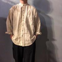 ~1990's リネンコットン ストライプ柄 刺繍デザイン バンドカラーシャツ / 古着 ビンテージ