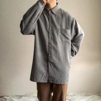 1990's~ bigsize gray fake suede L/S shirt
