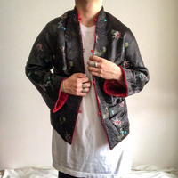 Vintage black×red embroidery silk china jacket