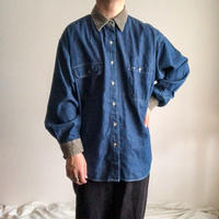 1990's~ corduroy switching design denim L/S shirt