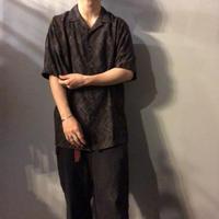 1990's~  ブラック オープンカラー 総柄 シルクシャツ / 古着 ビンテージ