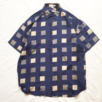 ネイビー ボックス柄 シルク 半袖シャツ / 古着 ビンテージ