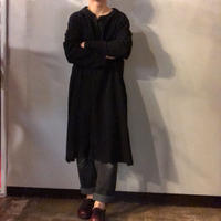ブラック ビッグサイズ チャイナボタン ロングコート/古着 ビンテージ
