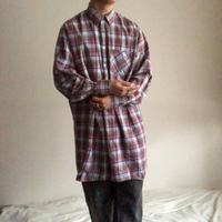 1970's~1980's  Euro plaid pattern grandfather shirt