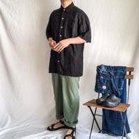 1990's~ black linen×rayon cuba S/S shirt