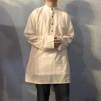 Vintage 1970's~ インド綿 ストライプ柄 バンドカラー グランパシャツ / 古着 ビンテージ