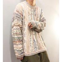 レアカラー! 1990's~ カナダ製 パステルカラー コットン 3Dセーター / 古着 ビンテージ