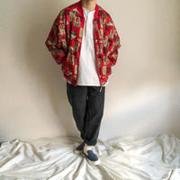 1990's~ bigsize patterned allover nylon bomber jacket
