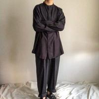 1990's~ bigsize black embroidery band collor L/S shirt