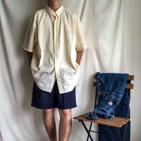 "~1990's ""Polo Ralph Lauren"" super bigsize BD lemon yellow stripe seersucker S/S shirt"