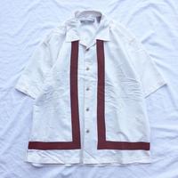 ツートン 刺繍 レーヨン オープンカラー 半袖シャツ /古着 ビンテージ