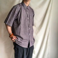 Vintage 1970's~1980's plaid pattern india cottton S/S shirt