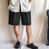 1990's~ black herringbone tuck silk shorts