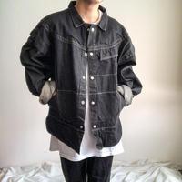 1990's~ switching design black denim jacket made in USA