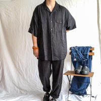 "1990's~ ""Nat Nast"" 1950's style two-tone color silk S/S shirt"