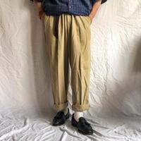 1990's~ bigsize beige tencell×cotton slacks