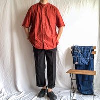 1970's~1980's stand collor terracotta linen S/S shirt made in Mexico