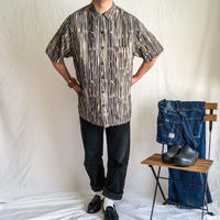 "1990's~ ""Nat Nast"" 1950's style patterned all over×embroidery silk S/S shirt"