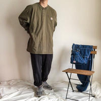 """carhartt"" bigsize green henly neck cotton L/S tee"