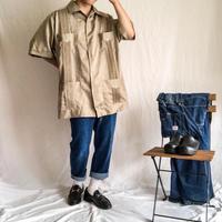 1990's~ super bigsize beige S/S cuba shirt