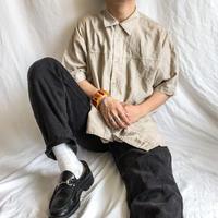 1990's~ natural beige bigsize patchwork design linen cotton S/S shirt