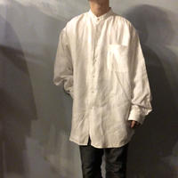 1990's~ USA製 Calvin Klein カルバンクライン ビッグサイズ バンドカラー リネンシャツ / 古着 ビンテージ