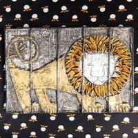 ヴィンテージ リサ・ラーソン Lisa Larson 陶板(檻の中のライオン)レア
