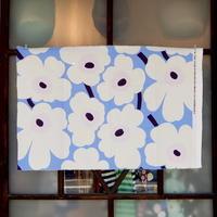 マリメッコ marimekko <Pieni Unikko>ファブリック(水色×オフホワイト×パステルピンク)49×73cm 廃盤